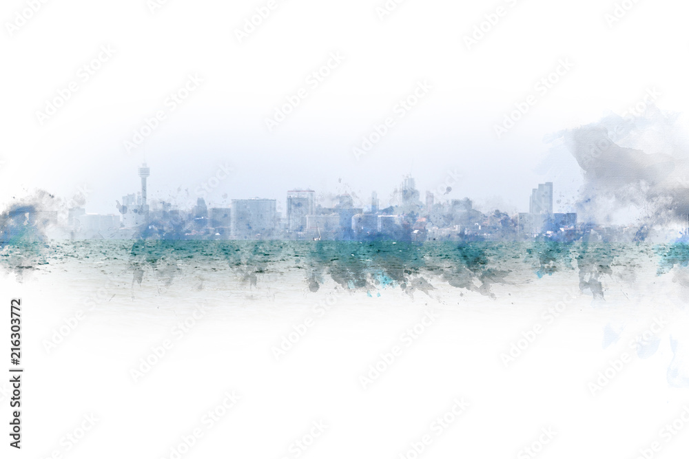 Abstract colorful building in the capital city on watercolor painting background.