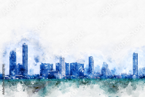 Abstract colorful building in the city on watercolor illustration painting background.