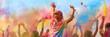 canvas print picture - Breitbild - Holi Fest begeisterte Menschen jubeln auf einem Holifestival, tanzen und werfen mit buntem Holipulver