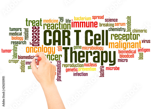 CAR T Cell Therapy word cloud and hand writing concept Canvas Print