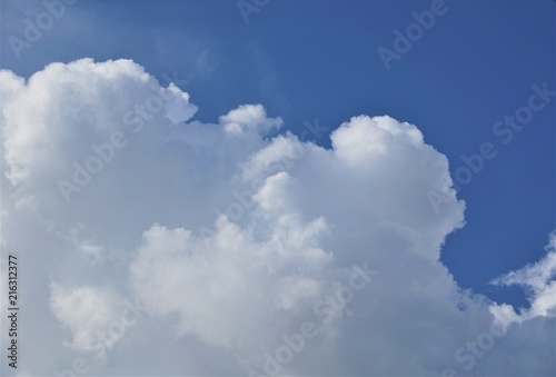 Aluminium Prints Heaven Amazing cumulus clouds and sunlight on the background of clear blue sky, Summer in GA USA.
