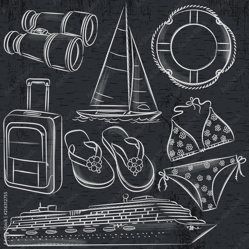 Set of  summer symbols, cruise ship, boat, suitcase, swim suit, flip flops on blackboard  background, vector illustration.