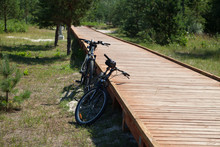 Two Bikes At The Wooden Path.