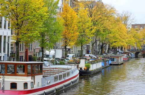 Fototapeta Amsterdam amsterdam-barki-na-kanale