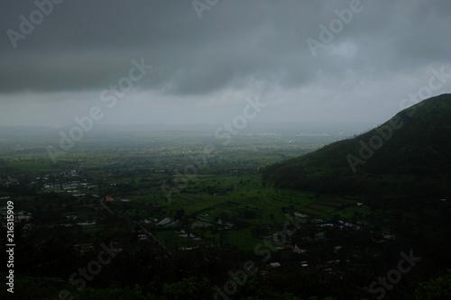 Poster Donkergrijs Lush green monsoon nature landscape mountains, hills, Purandar, Pune, Maharashtra, India