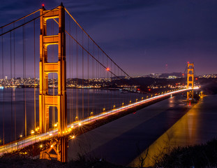 Panel Szklany Mosty Golden Gate Bridge at night
