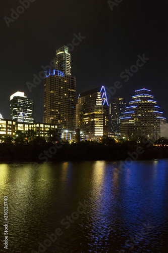 Poster City of Austin, Texas - Nighttime Vertical with Reflections in Water