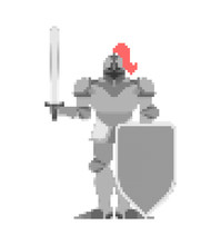Knight Pixel Art. Metal Armor Warrior 8 Bit. Digital Iron Armor. Plate And Sword. Vector Illustration