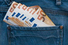 Money Fifty Euro In Jeans Pocket