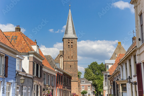 Church tower and old houses in Doesburg, Netherlands