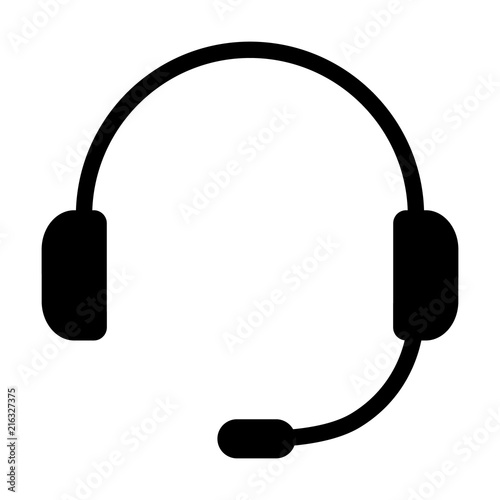Customer service or customer support headset or headphones flat vector icon for Obraz na płótnie