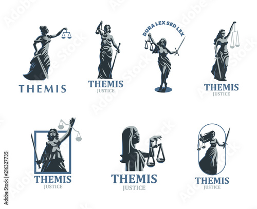 The goddess of justice Themis. Set. Vector. Tableau sur Toile