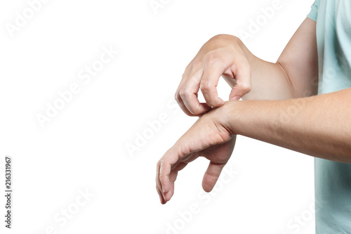Man scratching his hand, isolated on white background - 216331967