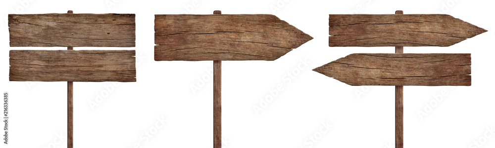 Fototapety, obrazy: old weathered wood signs, arrows and signposts