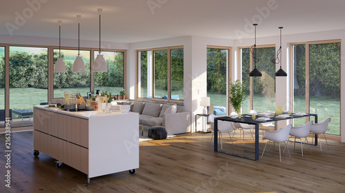 modernes Wohnzimmer in Bungalow - moderne flat house with ...
