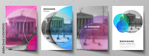 Obraz The vector layout of A4 format modern cover mockups design templates for brochure, magazine, flyer, booklet, annual report. Creative modern bright background with colorful circles and round shapes - fototapety do salonu