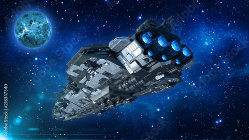 Alien spaceship in the Universe, spacecraft flying in deep space with planet and Wallpaper Mural