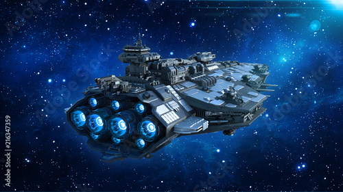 Photo Alien spaceship in the Universe, spacecraft flying in deep space with stars in t