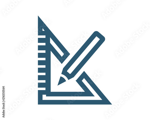 blue stationery ruler pencils tool equipment image vector icon logo Wall mural