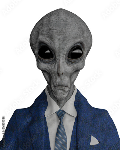 mr grey alien the businessman in a white background Canvas Print