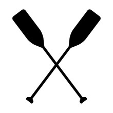 Two Boat Paddles Or Canoe Oars Flat Vector Icon For Nautical Apps And Websites