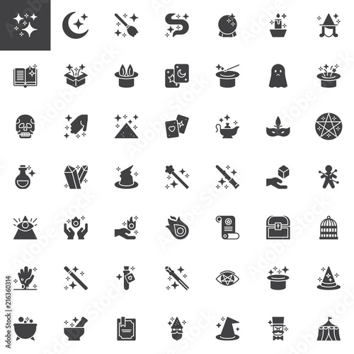 Magic elements vector icons set, modern solid symbol