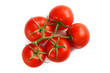 Branch of five fresh red tomatoes, isolated on white background, view from above