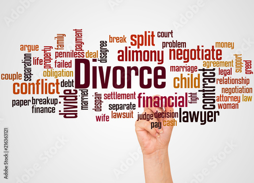Divorce word cloud and hand with marker concept