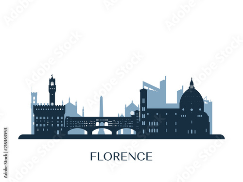 Florence skyline, monochrome silhouette. Vector illustration. Fototapeta