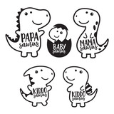 Fototapeta Dino - Cute dinosaur family cartoon character in black outlined vector illustration.