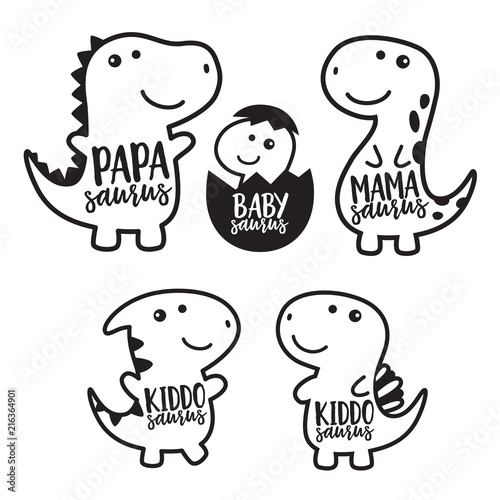 Cute dinosaur family cartoon character in black outlined vector illustration.