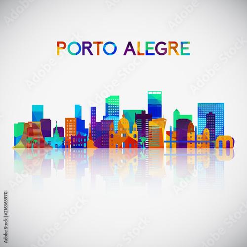 Porto Alegre skyline silhouette in colorful geometric style Canvas Print