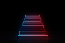 Neon Red Blue Stairs Going Up ...