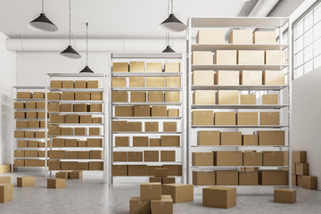 Obraz na Plexi Warehouse shelves with cartboard boxes front view