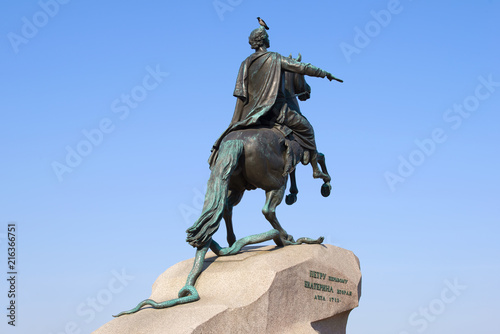 Poster Historisch mon. Sculpture of Peter the Great (Bronze Horseman) close-up, Saint Petersburg