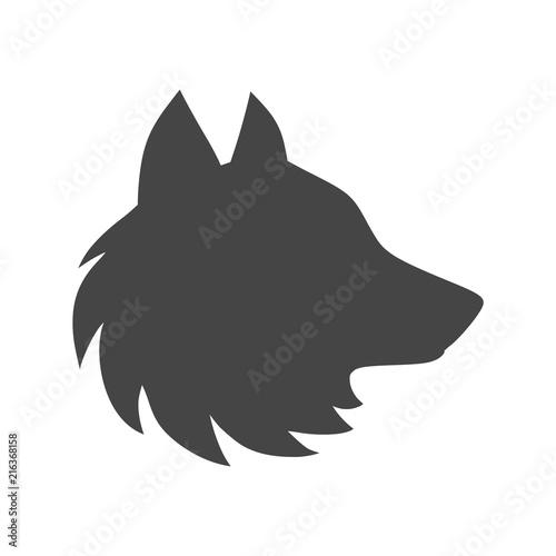 Fényképezés  Black wolf howl emblem or logo