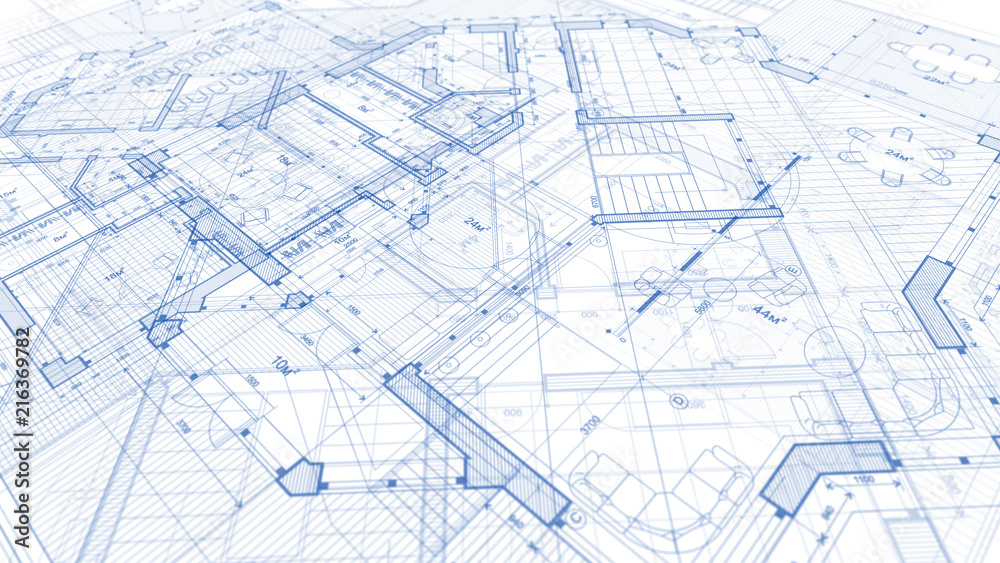 Fototapeta Architecture design: blueprint plan - illustration of a plan modern residential building / technology, industry, business concept illustration: real estate, building, construction, architecture
