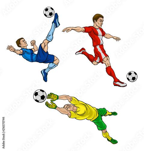 Cartoon Soccer Football Players Wallpaper Mural
