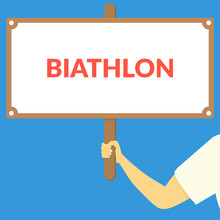 BIATHLON. Hand Holding Wooden ...
