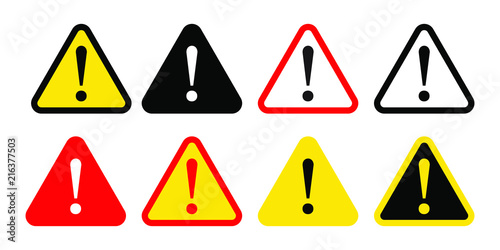 Obraz Danger sign, warning sign, attention sign. Danger icon, warning icon, attention icon. - fototapety do salonu