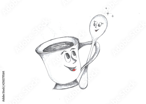 Hand drawing of a smiling cup and a spoon dancing together #216379564