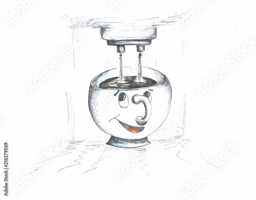 Hand drawing of smiling cup with a face and a coffee machine #216379569