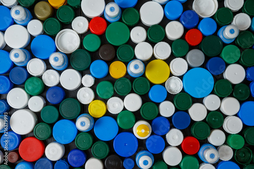 Collection of various colorful plastic screw caps #216379993