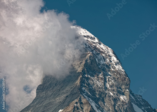 Poster Donkergrijs Sunny day in Zermatt, Switzerland