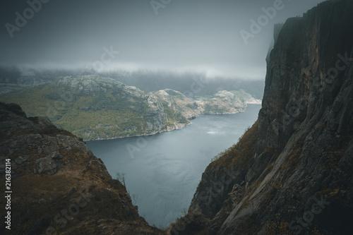 Fotobehang Grijze traf. Norwegian landscape, Prekestolen, Norway