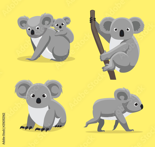 Cute Koala Poses Cartoon Vector Illustration Canvas Print