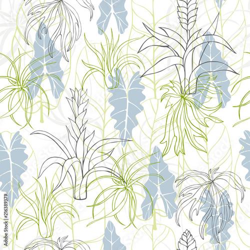 recznie-rysowane-roslin-tropikalnych-liscie-i-flowers-vector-bezszwowy-wzor