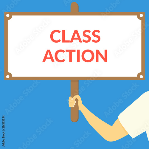 Photo  CLASS ACTION. Hand holding wooden sign