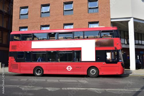 Fotobehang Londen rode bus Double Decker red bus is running on road in London