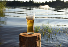 Glass Glass With Beer On Stump Against The Lake